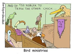 #Bird #Ministries by #LTCartoons @GiftsLT #birds #birders #birder #birding #birdwatching #birdwatcher #church #religion #humor #pun #puns #comics #cartoons #offbeat #weird #odd #strange #funny