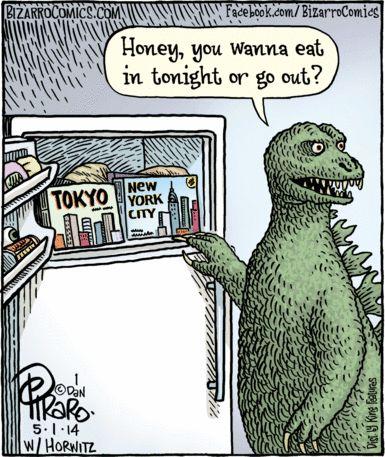 #Dinner #Godzilla #cartoon #humor