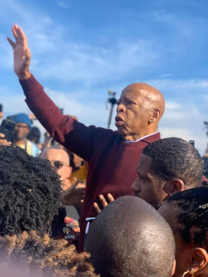 Took this photo of John Lewis on the Edmund Pettus Bridge 1 year ago today in Selma, Alabama. Critical that we carry forth his legacy and life's work to ensure all Americans enjoy access to the ballot.