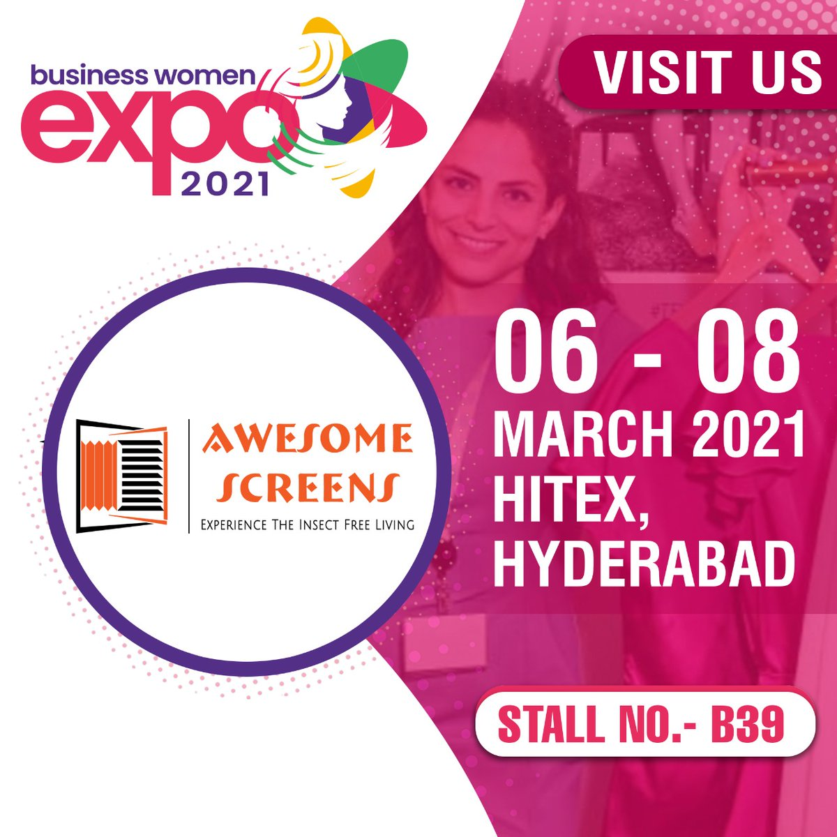 Ensure your house is insect-free while also looking amazing. Check out #Awesomescreens at stall B39 at the Business Women Expo being held at HITEX from 6 to 8 March. #hyderabad #exhibition #exhibitioninhyderabad #HITEX #Hyderabaddiaries #shopping #stalls #smallbusiness #vendors