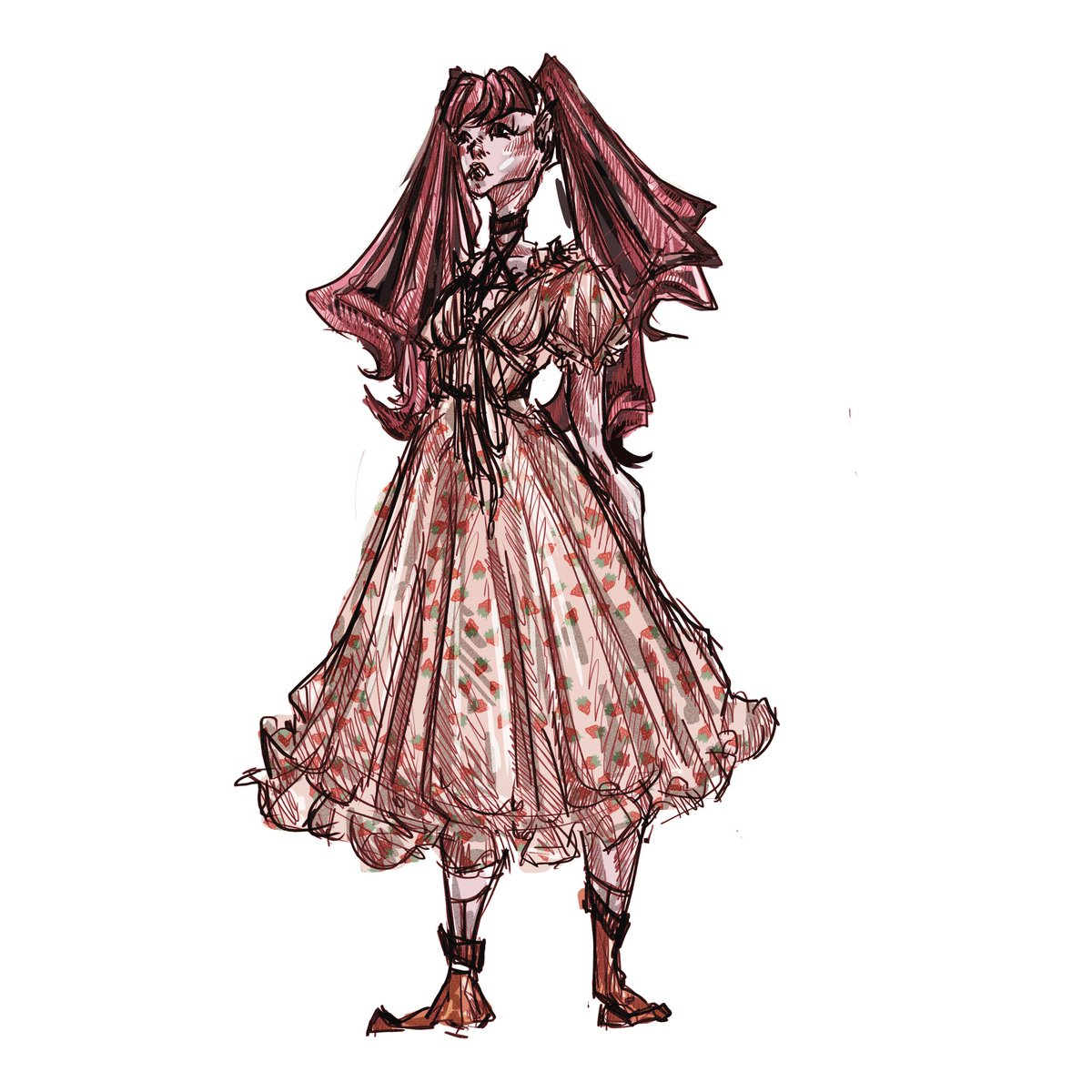 fuk, I'd almost forgotten abt the fact I also partook in that strawberry dress fiasco #strawberrydress #draculaura #monsterhigh #nostalgia #oldtrend #trend #fashion #trendy #fashionable #ethereal #monster #random #art #artwork #illustration #meme #dontatme #drawing #doodle #pink