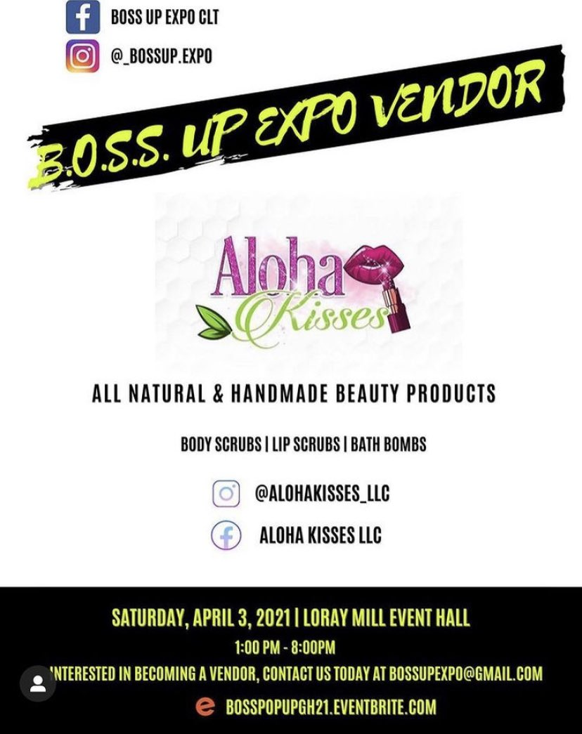 ⚠️ Dont forget #alohakissesllc will be attending its first pop up !  April 3  tap in. You will be able to buy lip scrubs,body scrubs, bathbombs. $5 at the door come shop  support me and other dope small business . . . .  #smallbusiness #blackowned #supportsmallbusiness #lipscrub