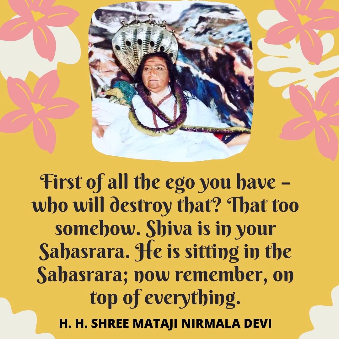 Jai Shree Mataji 🙏😇   He is sitting in the Sahasrara  #enlightenedspiritquotes #quotes #meditation #yoga #sahajayoga #shreematajinirmaladevi #motivationalquotes #instaquotes #tuesday #tuesdaymotivation #tuesdaythoughts #Mahashivratri #MustListen_Satsang