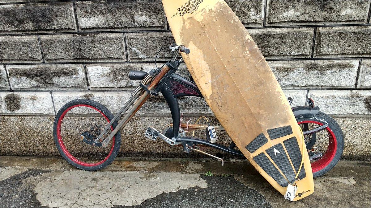 サーフボードには シュウィンが似合う ボードって 結構軽いんだね by 丘サーファー🏄️  #biker #bikers #bikerboy  #easyriders #easyrider      #rider #friendship #friends   #motercyclelife #motercyclelove  #stingray  #スティングレイ  #SCHWINN  #シュウィン  #bicycle #cycle
