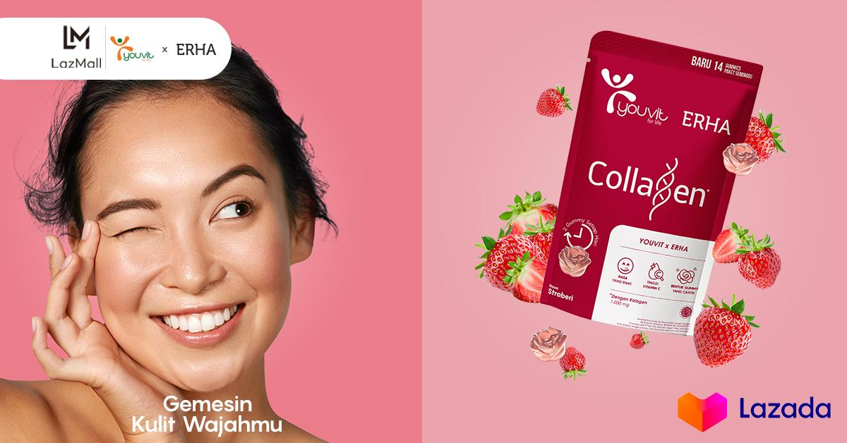 Kamu tau ngga nih ada vitamin yang super kenyal, enak dan bikin wajah kamu lebih glowing loh! Vitamin Youvit barengan sama Erha lagi ada diskon hingga 20% untuk kamu. Yuk cek di link berikut :   #YakinDariHati #Lazada33Sale #LazadaID