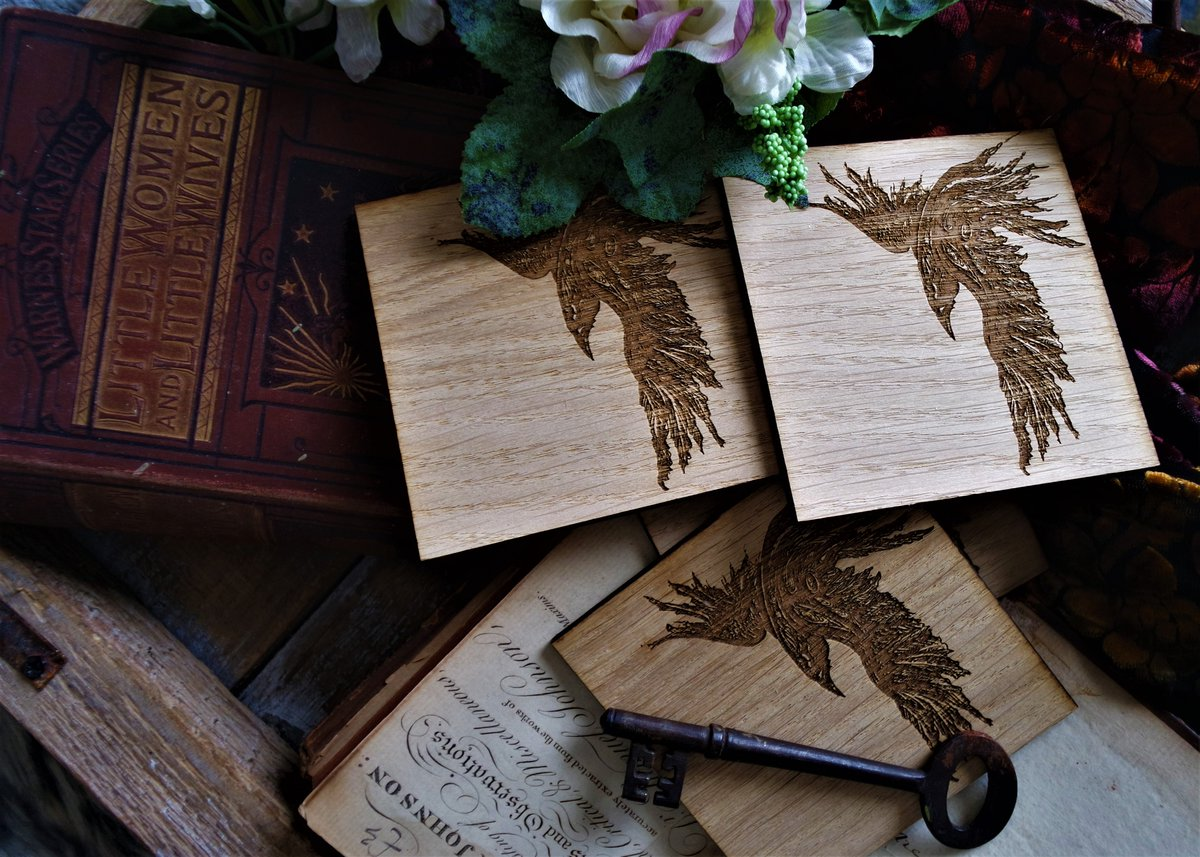 Each year two ##ravens return to their nest in the barn studio to raise their young. These brand new #coasters designed by the talented #neelzexpressionz are inspired by them.  Available from   #inkdrawing #laserart #giftidea