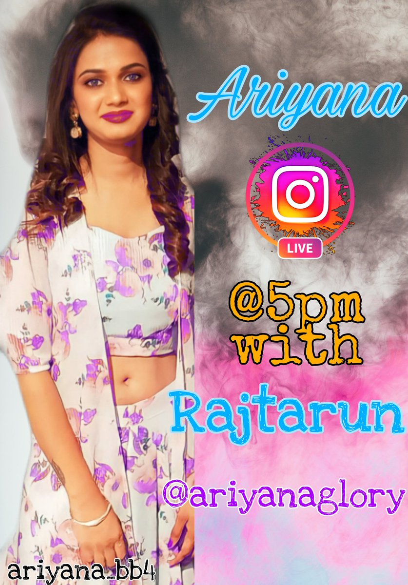 Ariyana Live with Rajtarun at 5pm in Ariyana official Insta page  Follow me on insta   #ariyana #ariyanaglory #biggbosstamil4 #biggbosstelugu4 #sohel #abijeet #akhilsarthak #monalgajjar #sarkaruvaaripata #uppena #check #pittakathalu #naandhi #rajtarun