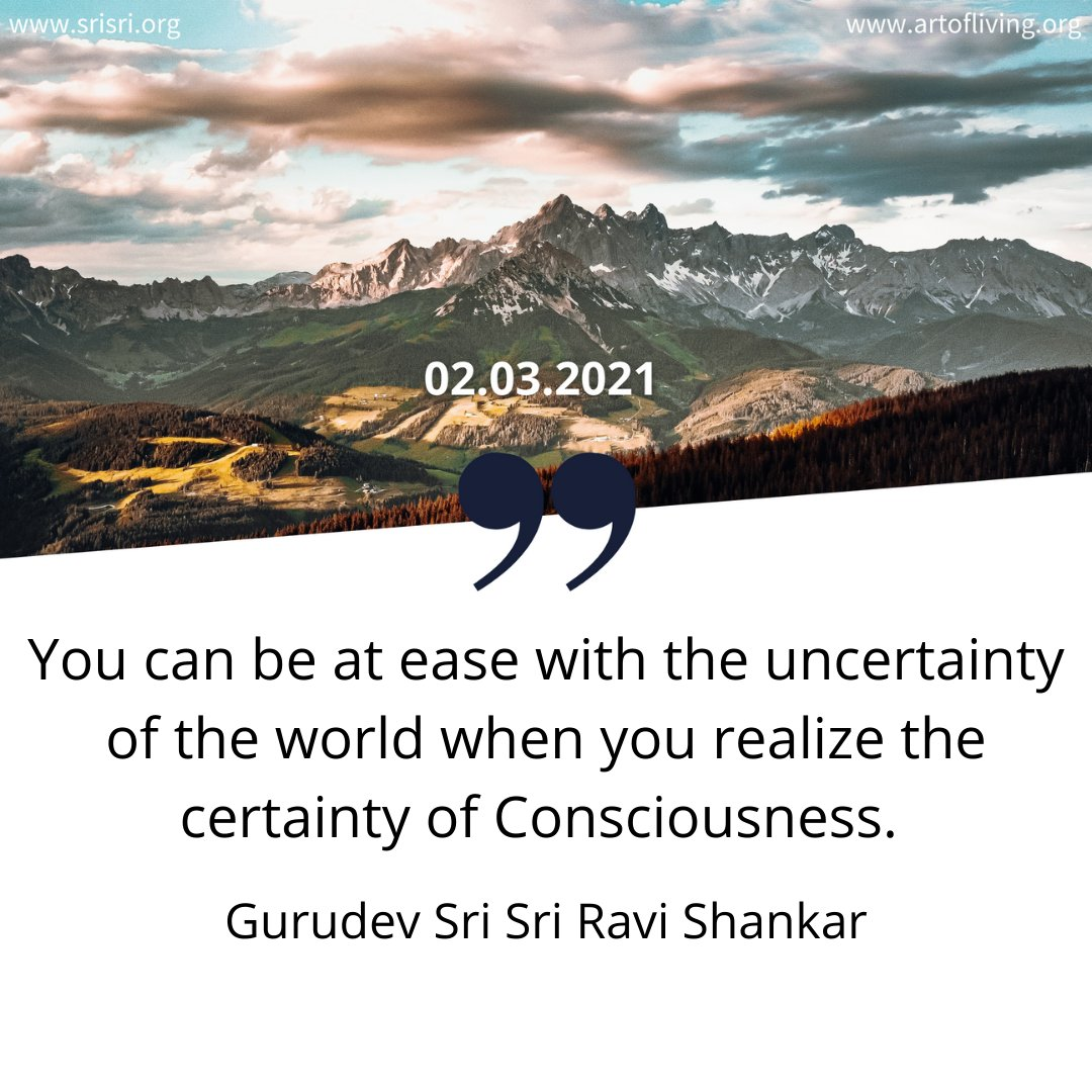 You can be at ease with the uncertainty of the world when you realize the certainty of Consciousness.  #tuesdaymotivations  #tuesdayvibe #Realisation #World #Anxiety #faith #tuesdaythoughts