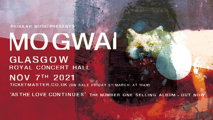 ANNOUNCED: After bagging the number 1 slot with their new album, legendary band @mogwaiband will play a massive hometown show at Glasgow Royal Concert Hall (@GCHalls) on 7th November! Tickets on sale at 10am on Friday 5th March >> bit.ly/381VjQ0
