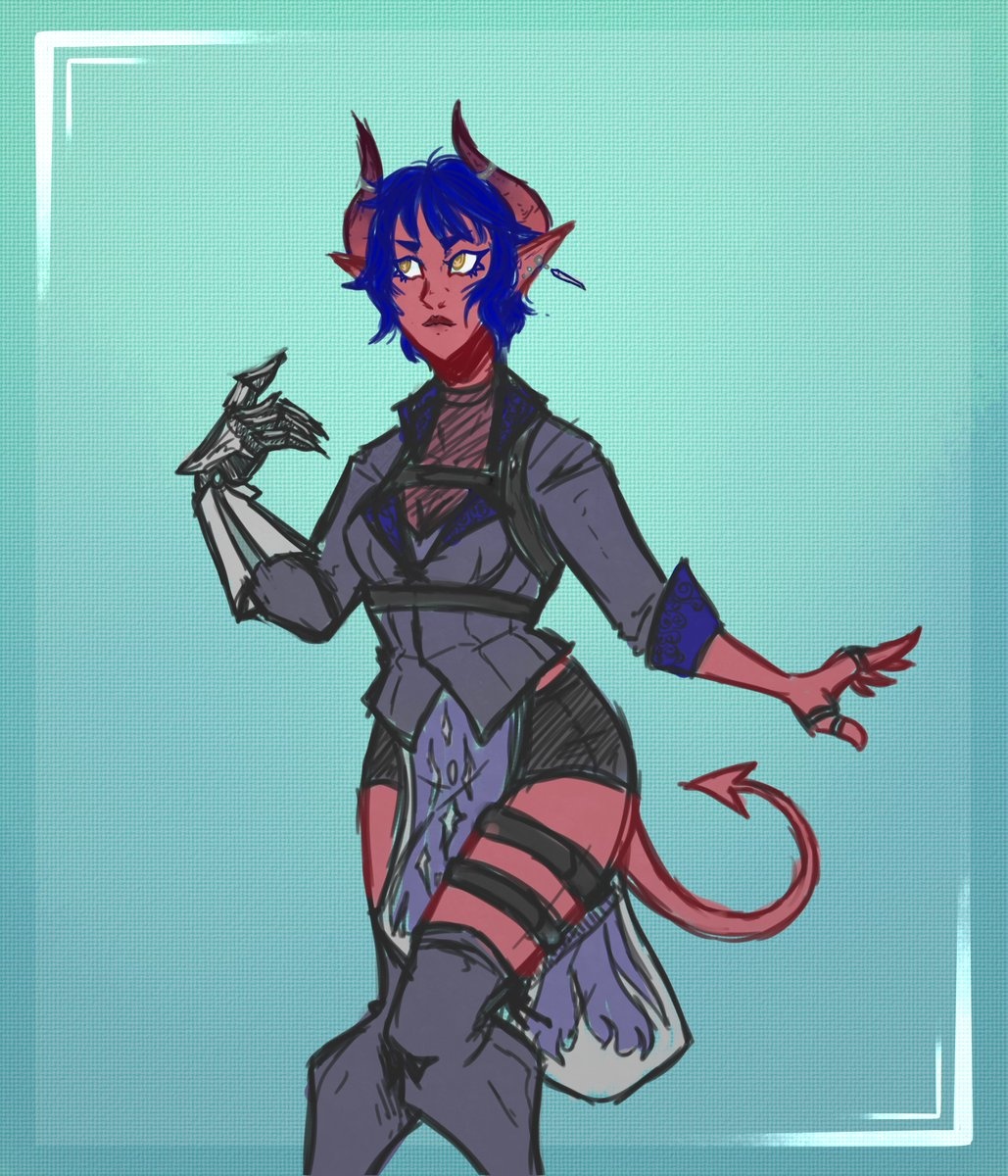 No Thoughts, Only Her.  So in my #DnD kick I've decided no updates to old sheets only ideas for new characters. Which is why this lovely #tiefling lady exists! Beyond that the details still elude me lmoa.  #dndartists #sketch #dnd5e #artistsontwitter #oc #femaleoc