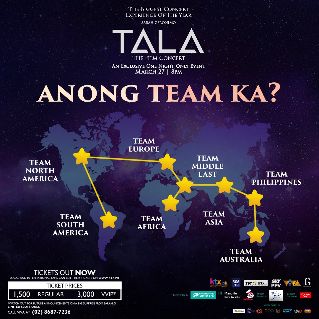 Excited ka na ba sa biggest concert event of the year? Be proud of your team and show your support sa Tala the Film Concert!  Huwag nang magpahuli, get your tickets now to  bago ka pa maubusan!