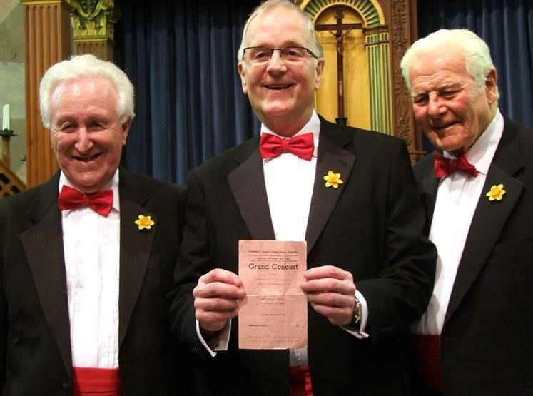 #ThrowbackThursday - 2nd March 2013 Graham Burgess (center) joins the Choir as a full Member at the Whitchurch Concert 50 years after his last appearance with the Choir, as a guest boy soprano!