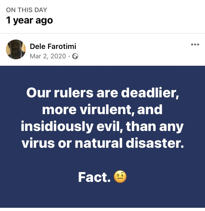 Fact! Fact! Fact! 1 year ago and nothing has changed instead oppressors are becoming more deadlier. Uncle Dele Farotimi is now among the few consistent prophets --- hear him! #EndSARS  #EndNigeriaConstitution #Lekkitollgate
