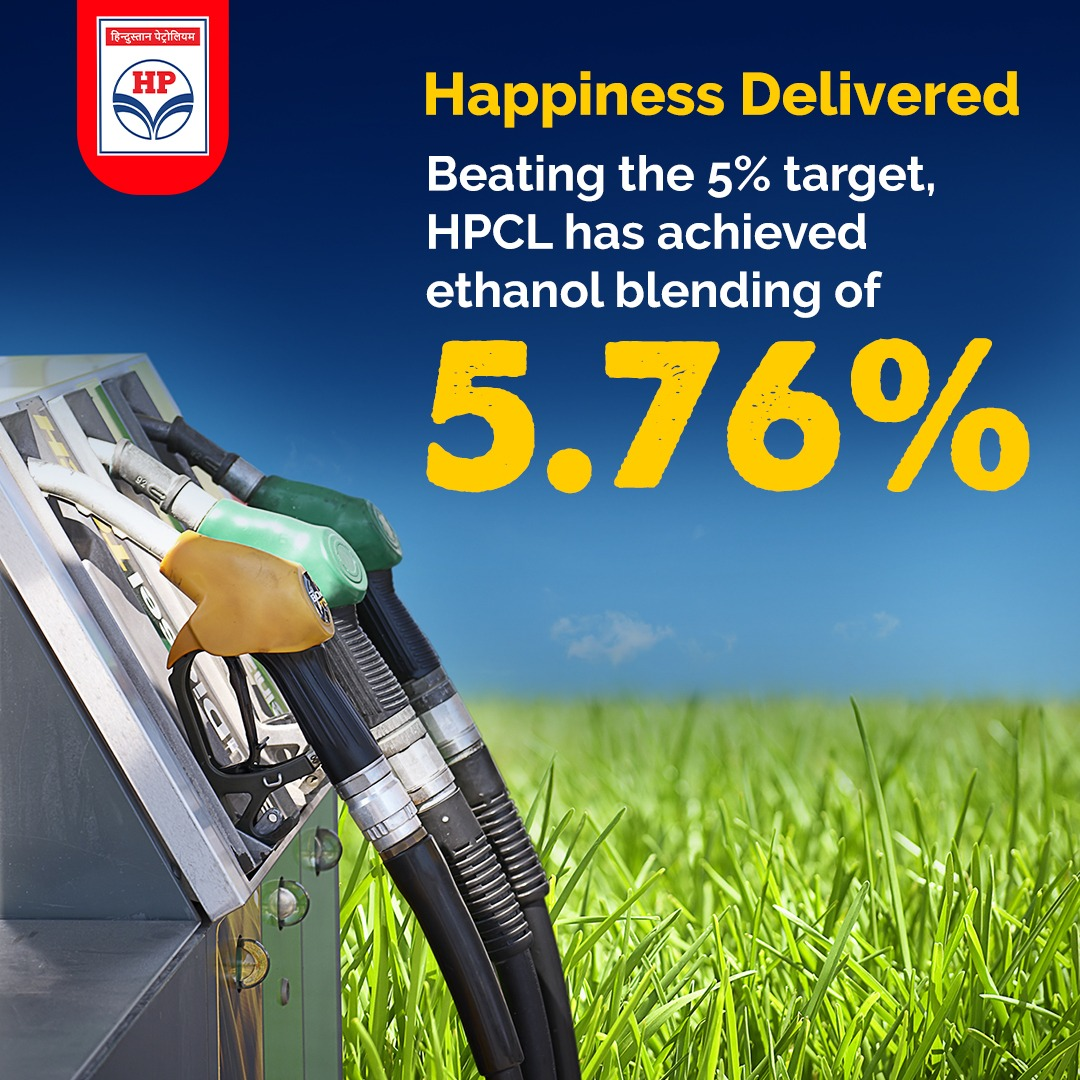 Setting new benchmarks, HPCL has achieved an ethanol blending of 5.76%. Exceeding the September, 2020 target of 5%. #Ethanol blending helps reduce emissions, therefore making the fuel better and greener. #HPCL #DeliveringHappiness #Green