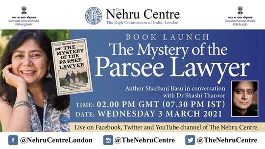 Catch @shrabanibasu_ in conversation with @ShashiTharoor for the launch of #TheMysteryOfTheParseeLawyer live at @TheNehruCentres handle tomorrow at 7:30 PM IST