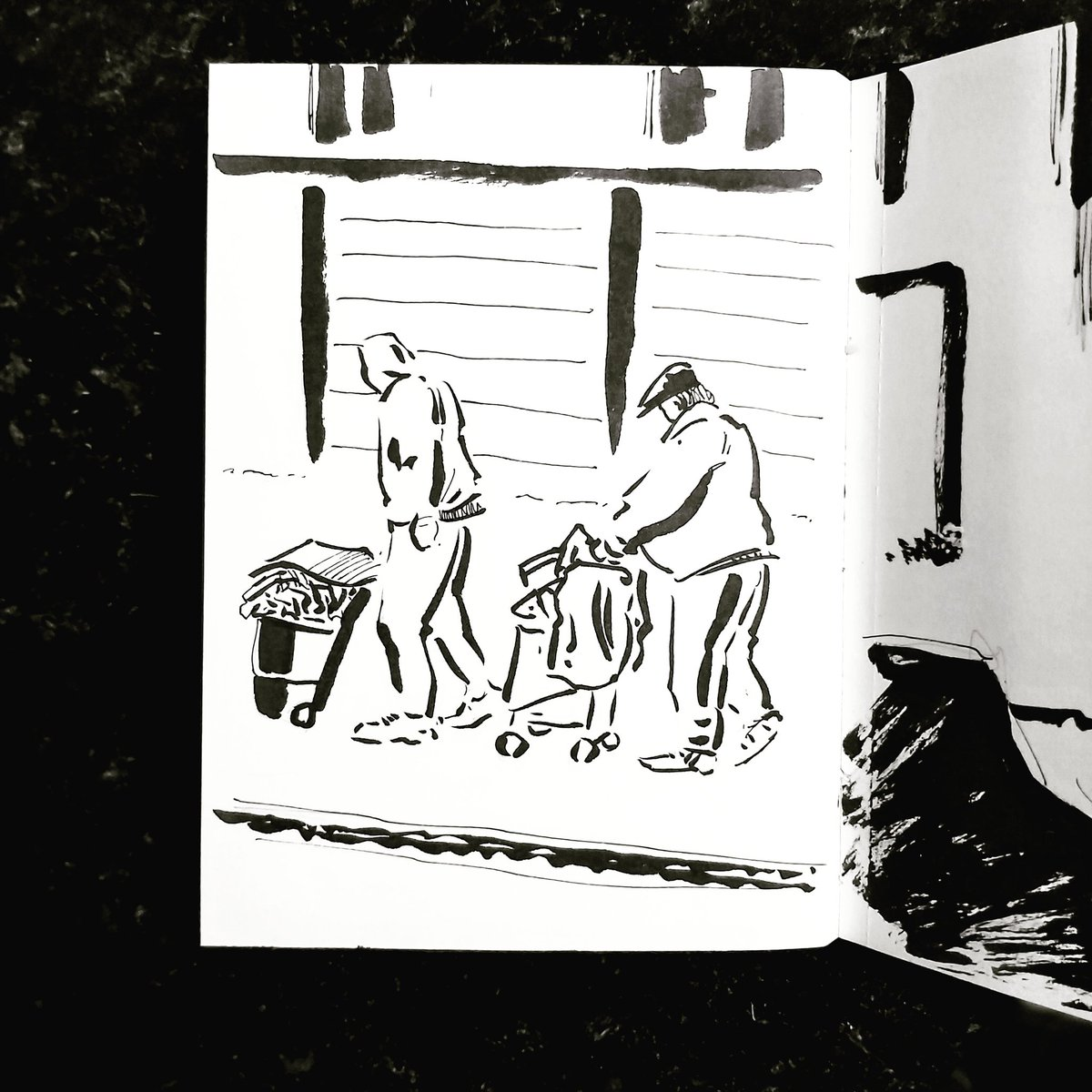 From the Inside 2 Day 149 (267 total) #isolation study Kitchen window Passerby No 160/161 #isolationlife #stayathome #lockdown #lockdown2uk #sketchbook #sketch #drawing #draw #doodle #ink #lineart #lifedrawing #figuredrawing #walk #artoftheday #art #artwork #artist #illustration