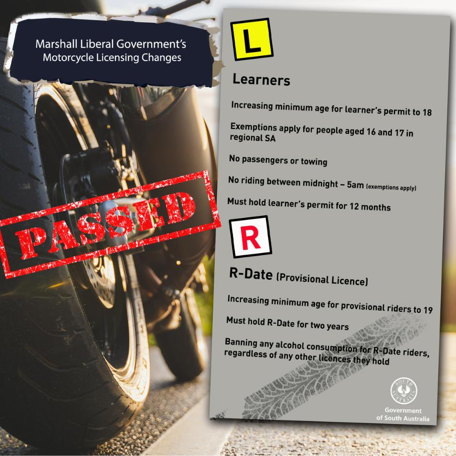 PASSED!    The Marshall Liberal Government's reforms to the motorcycle Graduated Licensing Scheme have been passed by both Houses of Parliament.   Our reforms will improve road safety for all road users and ensure that novice riders are better prepared to be safe on the road. https://t.co/Kv13VPjwig