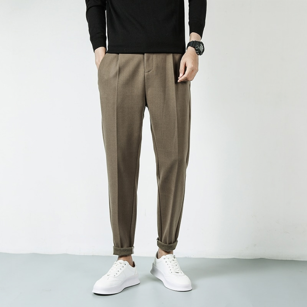 #lifestyle #boutique 2021 New Casual Pants Men Wool Mix Thick Slim Fit Trousers Male Elastic Waist Stretch Man Clothes Autumn Winter Warm Bottoms