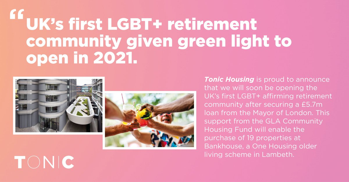 Huzzah! @tonichousing just got the greenlight for the UK's first LGBT+ retirement housing. #CommunityLedHousing