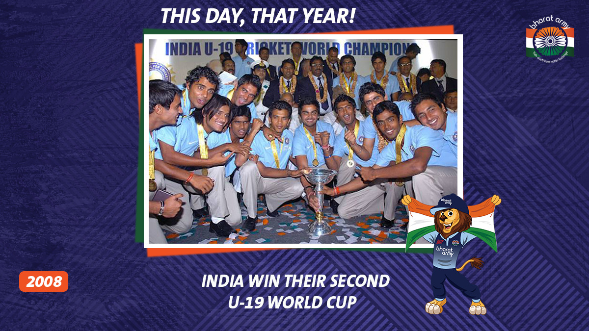🇮🇳✨#OTD IN 2008: The U-19 Indian team, led by Virat Kohli, defeated South Africa in the final to lift the World Cup 🏆  📷 Getty • #Indiau19 #BharatArmy