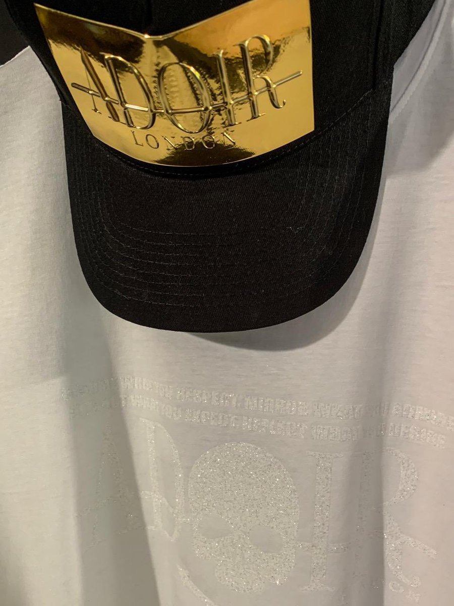 Gold on Black Embossed ADOIR high density cap //  SKULL STATEMENT Core Essential White T-shirt   Now available on-line 🔗   #adoirlondon #lifestyle #menswear #menwithstyle #dreambig #fashion