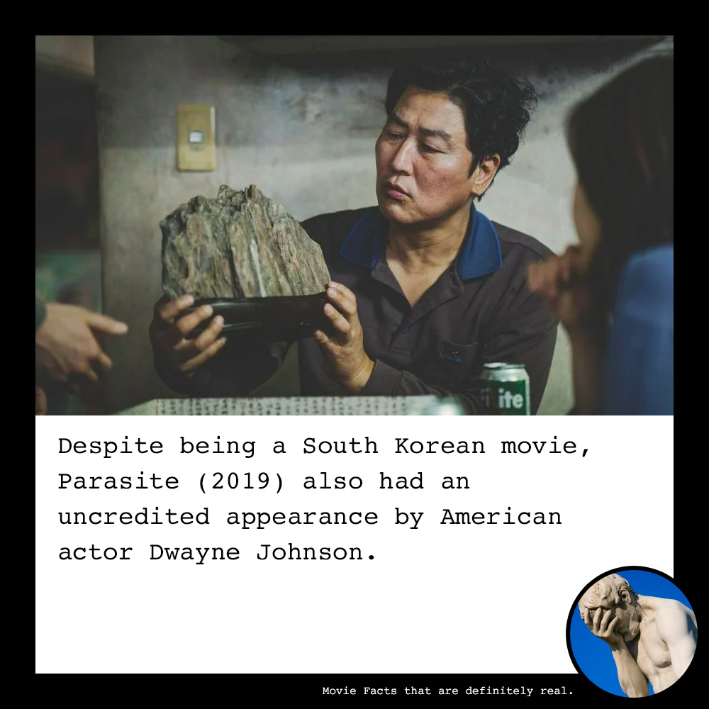 Despite being a South Korean movie, #Parasite (2019) also had an uncredited appearance by American actor Dwayne Johnson. #dwaynejohnson #therock #movie #movies #moviefact #moviefacts