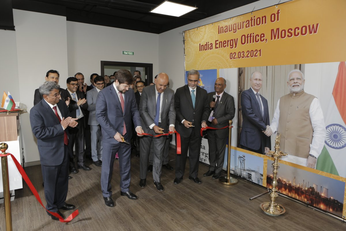 Secretary P&NG, Russian Dy Minister of Energy & Ambassador jointly inaugurated India #Energy Office, Moscow; five oil PSUs- @ongcvideshltd, @IndianOilcl, @gailindia, @OilIndiaLimited, @EngineersIND have jointly opened the office to further business ties with Russian energy sector