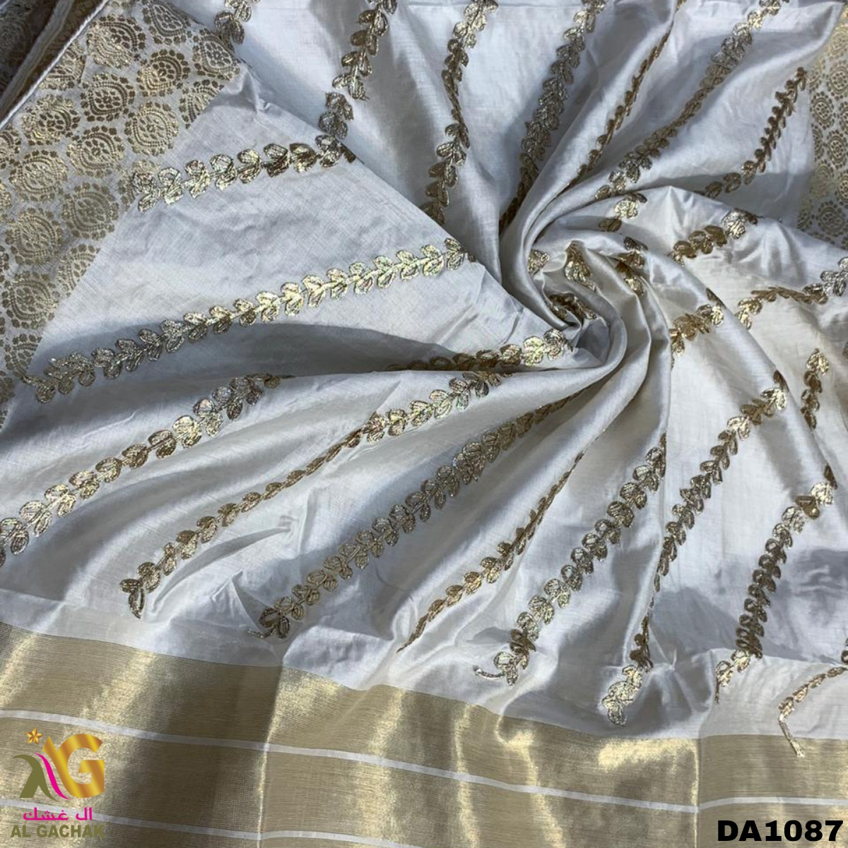 """Shop This Dyeable Chanderi Brocade Gottapatti Work Dupatta Now 😍 Width:52""""inch Price :Approx 9.40 BHD/pc MOQ:14 Meter Dealing in wholesale & for #boutique use! #l4l #F4F #Bahrain #boutiqueshopping #Like #fashiondesigner #follo #ClothingBrand #Clothing #clothingline #fabrics"""