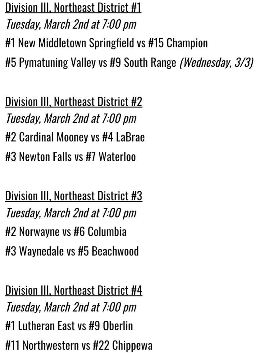 Tuesday, 3/2 NEO Schedule 🏀   Tonight is the district semifinal round for Divisions III and IV!   Check out the schedule below. ⬇️