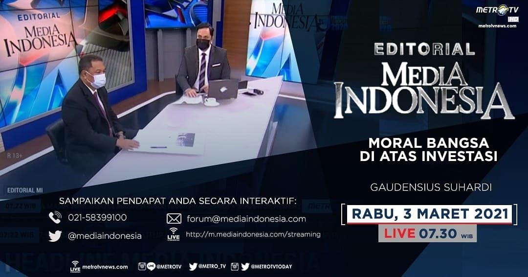 #EditorialMediaIndonesia hari Rabu (3/3) LIVE pukul 07.30 WIB akan membahas soal upaya negara menciptakan iklim investasi yang terbaik bagi warga negara Indonesia sekaligus investor lokal maupun luar negeri, bersama pembedah Gaudensius Suhardi di #metrotv.  #mediaindonesia