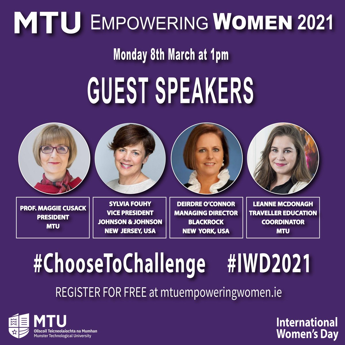 On Monday 8th March at 1pm, MTU are hosting a free virtual event for International Women's Day. MTU EMPOWERING WOMEN 2021 aims to encourage, inspire and support our female students, staff, alumni and wider community. Full details and to register visit https://t.co/qwbgTVl9Qx https://t.co/x3cj1wovAI
