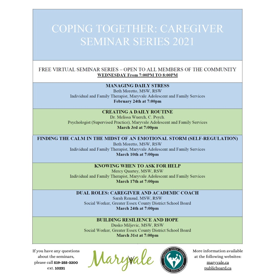 test Twitter Media - @MaryvaleCentre and @gecdsb have teamed up to provide a FREE virtual webinar series for caregivers. Every Wednesday until March. 31st, join from 7-8pm and discover new ways to cope together.  Open to ALL members of the community, please share with anyone who may be interested! https://t.co/nFHUgYkt8A