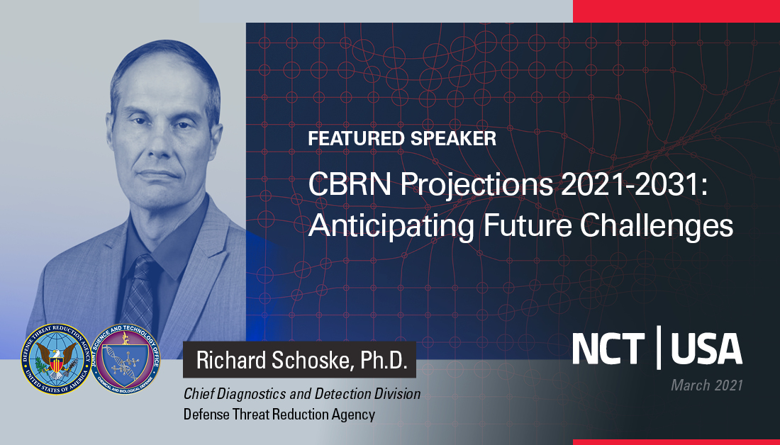 At #NCT Virtual USA today, DTRAs Richard Schoske, Ph.D., Chief Diagnostics & Detection Division, will be speaking on the future of #CBRN threats & #preparingforsurprise. Join us at our virtual booth today & tomorrow: nct-events.com/event/nct-usa-… #NCTVirtual #NCTUSA #CBRNE #DTRA
