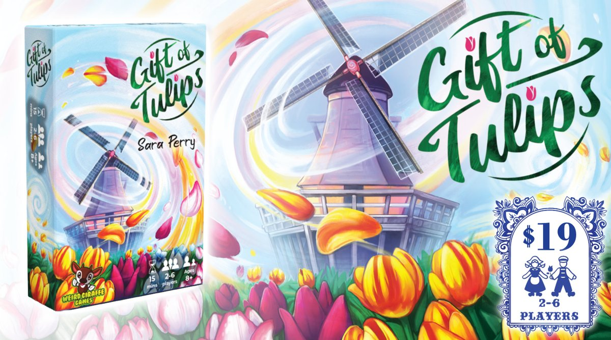 Gift of Tulips is now on Kickstarter! It's an area majority card game for 2-6 players where you're giving tulips to your friends in Amsterdam!   I've worked on this for almost 2 years and am so excited to get it to you! Thanks so much for your support!