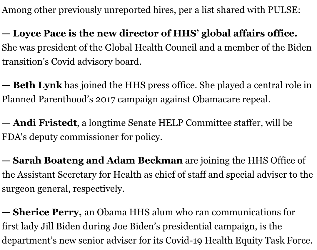 @POLITICOPulse @Cindy_Y_Huang HHS announcing several other hires today, per list, including: – Former Biden transition Covid adviser LOYCE PACE (@globalgamechngr) to run the global affairs office – @BethLynkDC to the press office – Former Senate HELP staffer Andi Fristedt as FDA deputy commissioner for policy