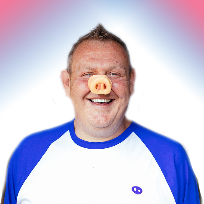 """Oink Oink!  MICK ARMSTRONG - HEAD OF THE HERD 🐽  """"Big passion, big vision and a big smile.""""  #MeetTheTeam #Teamwork #Passionate #Careers #Fun #HeadShot #HeadOfTheHerd #Director @BigMickArm #startup #bigmickarm #pignose #smile #startwithasmile"""