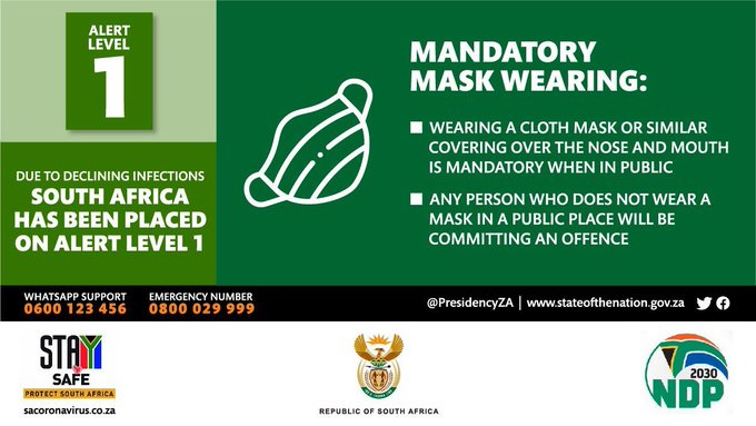 The wearing of masks in public places is still mandatory, and failure to wear a mask in public remains a criminal offence. #ProtectSouthAfrica #StaySafe