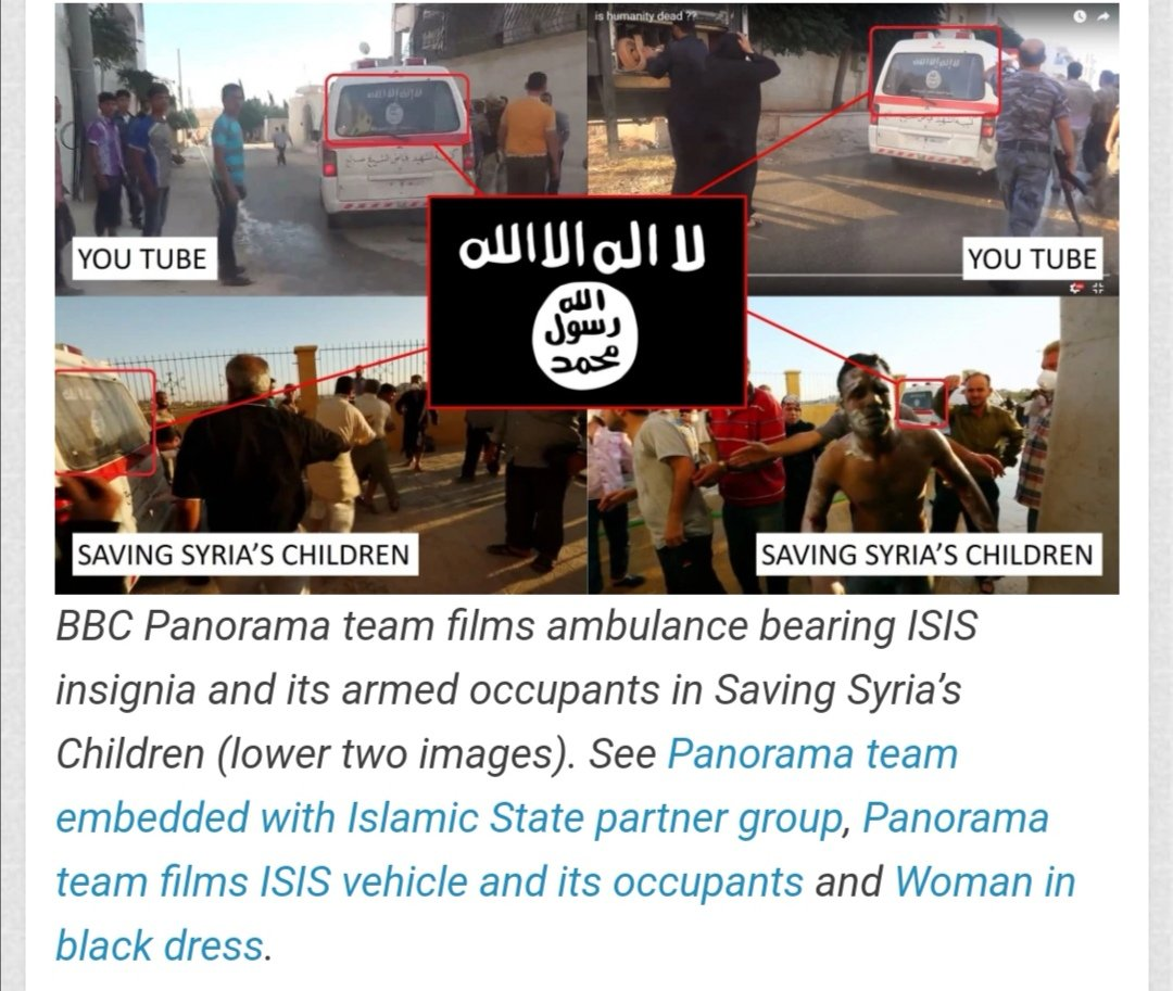 "There is also an issue of #BBC producers driving around in vehicles with #ISIS insignia on display. Does @chloehadj draw the same conclusion & will she now condemn #BBC for clear links to terrorist groups inside #Syria? Panorama ""Saving Syria's Children""  https://t.co/xVzgZ0ZYUX https://t.co/OjZhY8ZdD1"