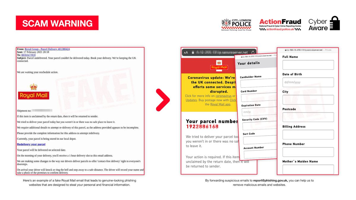 Watch out for these FAKE Royal Mail emails. They've been reported to us over 1,700 times.   We followed the link in one of the emails and here's where it leads...   Help us remove malicious emails and websites like these by forwarding suspicious emails to: report@phishing.gov.uk https://t.co/cTzc2SFM1y