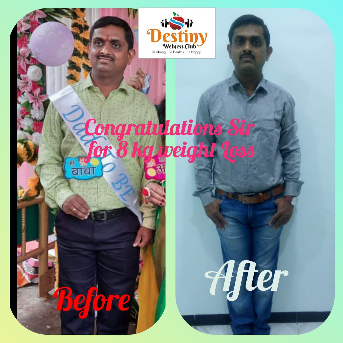 Congratulations Mr.Jagdish Sir for 8 kg weight loss...💐💐  #weightloss #ravindrafitcoach #destinywellnessnsk #nasik #weightlossjourney #fitness #healthylifestyle #motivation #healthy #health #workout #diet #fitnessmotivation #healthyfood #fit #weightlosstransformation #gym