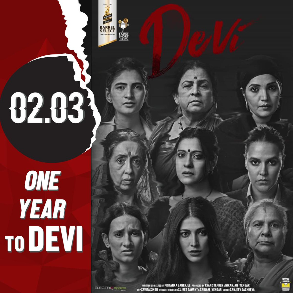 1 year to Devi. A film which I will forever  be proud of but which also till today makes me feel so many things in such a short period of time. The reason, the women and the conclusion all just bring a lump to my throat till today. Watch it for yourself again.