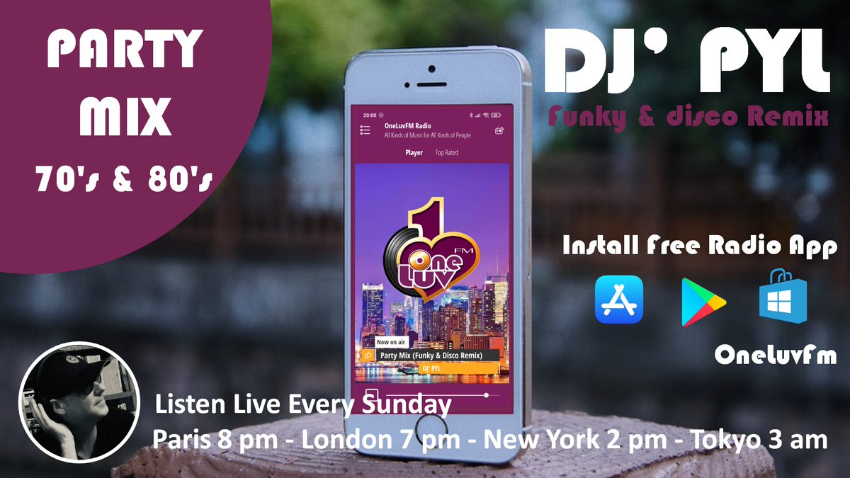 Listen to me Every Sunday on the OneLuvFM app📱💻🎧. Download:  Listen to the best of Funky & Disco remixes every sunday. (Paris 8 pm-London 7 pm-New York 2 pm-Tokyo 3am) DJ' PYL😎 @oneluvfm #funk #disco #oldschool #fun #sunday #enjoy #classics #radio #live