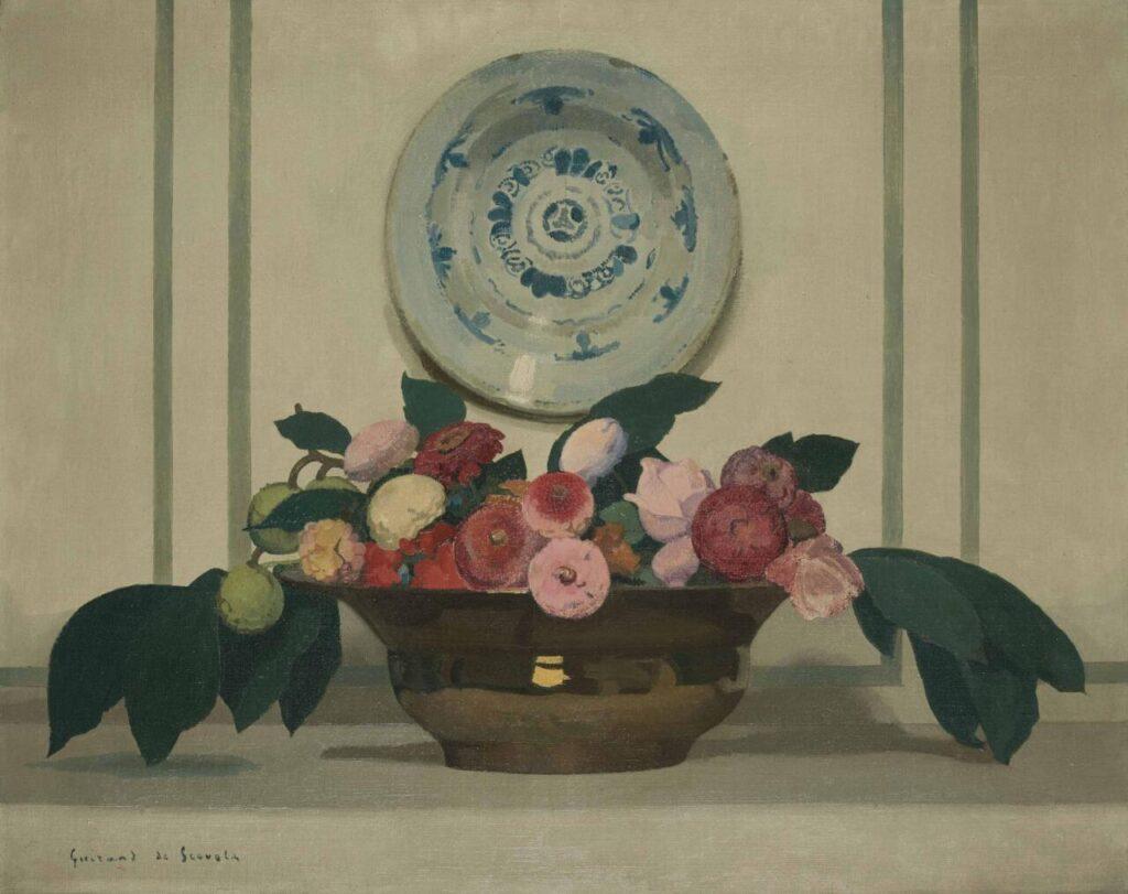 #Lucien #Victor #Guirand I (Sé, 14 de novembro de 1871 - Parigi, 29 de março de 1950) - Um pintor simbolista genial Natureza morta com flores e prato de porcelana. #ArtesPlásticas #Pinturas #Paints #artfinder #ArtGallery #Peinture #Art #FineArt  + Artes->