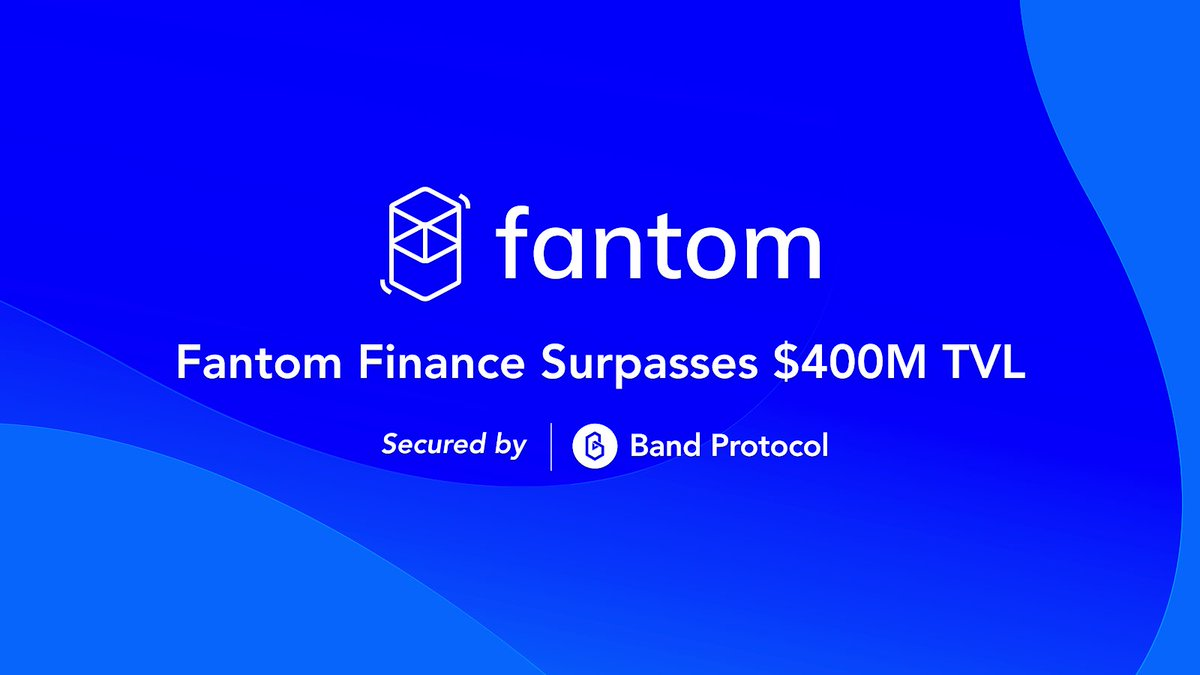 Fantom Finance has surpassed $434M TVL through liquid staking, synthetic assets and fMint secured by @BandProtocol!   With lending, further support for new synthetic assets and price feed support from $BAND - we are excited to take Fantom to new heights.