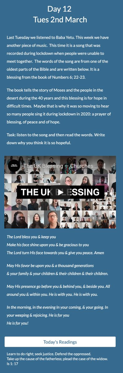 @StLukesHigh pupils are still adding prayer requests on day 12 of our #LentenJourney. It's a privilege to pray for one another's needs during these days. Enjoy the encouragement of the song The Blessing by visiting our site.