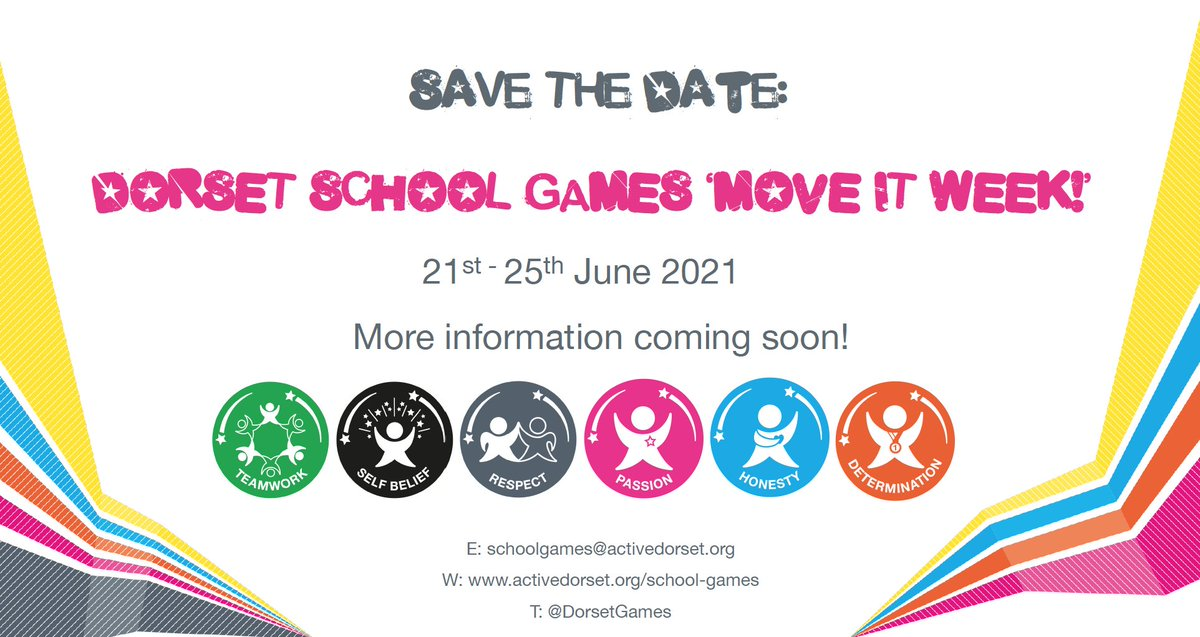 Save the date!  Dorset School Games MOVE IT WEEK! 21st-25th June 2021   More information coming soon!   #DorsetSchoolGames #MoveItWeek #VirtualSummerFestival #YourSchoolGames #SchoolGames