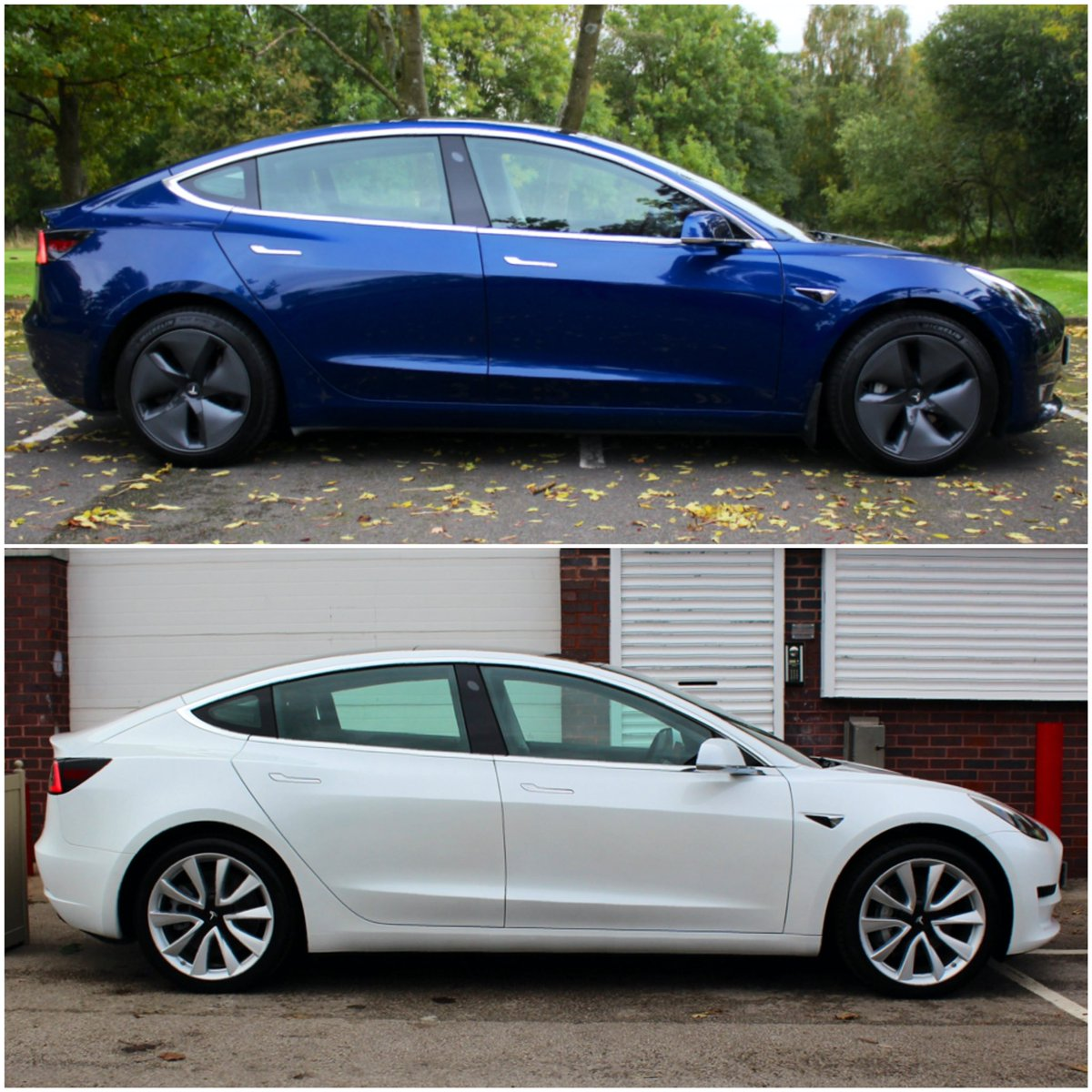 Two stunning Tesla's available in stock   2019/69 Tesla model 3 LR in Midnight Blue - £43,950 or from £401** per month (PCP)  2020/20 Tesla Model 3 SR in Pearl white - £40,495 or from £370** per month (PCP)  Enquire today!  #teslatuesday #tesla #teslamodel3 https://t.co/5Nb2j8IUQC