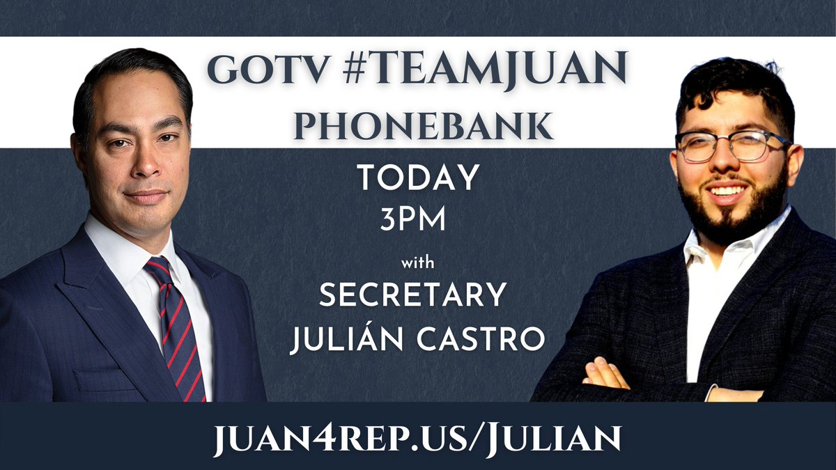 Join Sec. @JulianCastro at 3pm for a GOTV phonebanking shift. Invite your frients here➡️ fb.me/e/1e8KlIkQ9 #SpecialElection #mapoli #19suffolk
