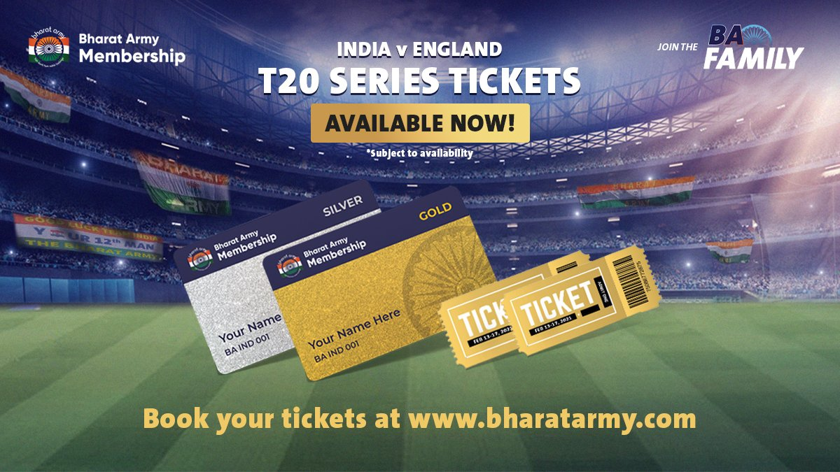 🚨🚨 ATTENTION: The tickets for the T20 series are live NOW!   Book them TODAY:    #INDvENG #BharatArmy