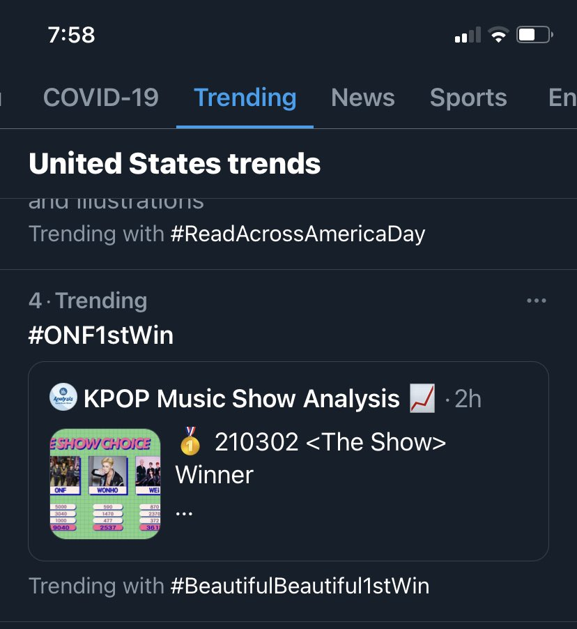 LETS GO 1st time ONF has ever trended in the US!! #4 #4!!!!!! #BeautifulBeautiful1stWin #ONF1stWin #축하해_온앤오프 #CongratulationsONF